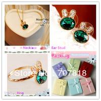 Free Shipping! Hot Sale Fashion Jewelry Set, Green Rhinestone Rabbit  Necklace, Ear Stud,Ring 3Pcs Kit with Fashion Jewelry Box