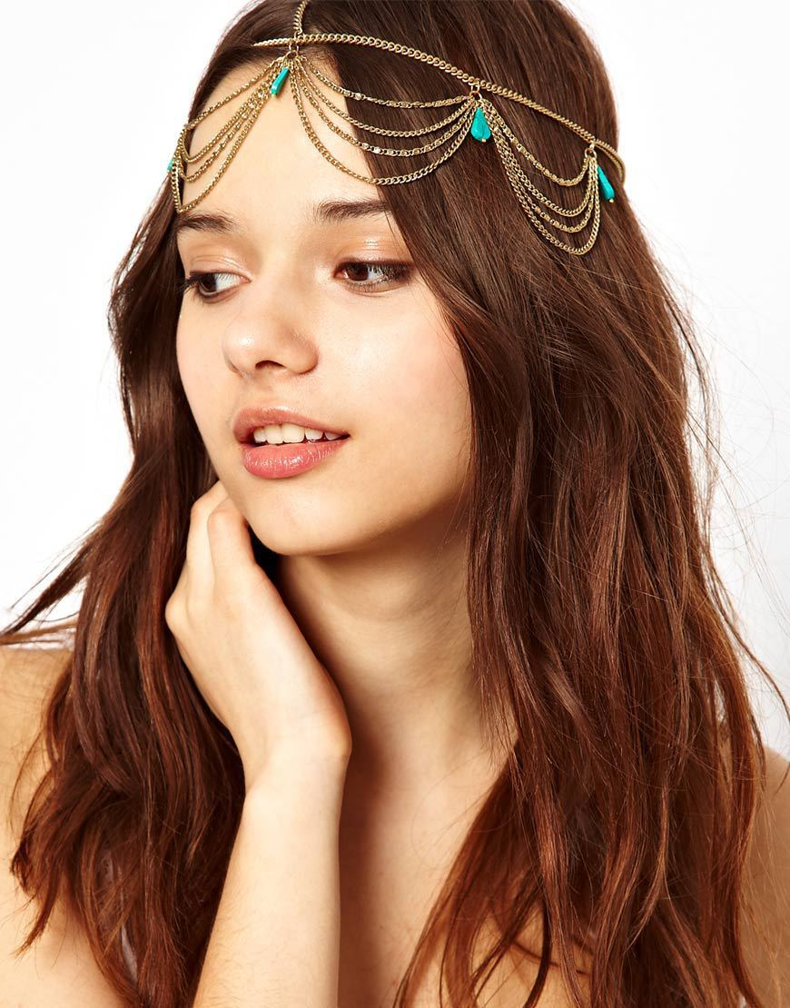free shipping new 2014 Women Fashion Metal Gold Head Chain Jewelry with Natural Turquoise Headband Head Piece Hair band(China (Mainland))