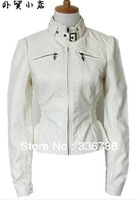 Women's European National Brand Quality White Slim Waist Leather Jacket