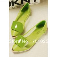 Women's shoes gauze lace cutout side buckle metal pointed toe flat
