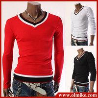 2014 fashion New v-neck sweater mens long sleeve T-shirts,Men knitting shirt knitwear slimming T-shirt Asia size S-XXL C517