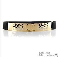 New Design Hollow Out Sequin Belt Ladies Metal Stretch Wide Belt Elastic Waistband Women Belts Gold Waist Belts For Women