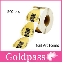 2014 new 500Pcs/Roll Golden Nail Art Forms Guide Acrylic UV Gel Tip Extension Tool
