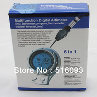 Free shipping 6 in1 Digital LCD Barometer Altimeter Compass Thermometer Weather Forecast Clock