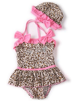 2014 New Baby Girls Toddler Swimwear Leopard Bikini Kids Bathing Suit One-Piece Swimsuit 2Y-6Y