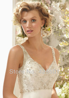 2014 A Line V Neck Sexy Backless Wedding Dress Beading Pearls Bridal Gown Bride Dress