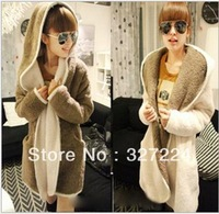 2013 new women's fleece winter warm two fluffy long cardigan in double color coat free shipping
