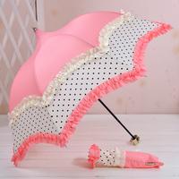 2014 Hot sale Ramona double layer dots weather umbrella three fold umbrella pagoda umbrella Free Shipping