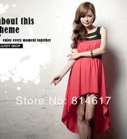 2014 New arive summer gentle women dovetail sleeveless slim waist vest irregular design dress cheap online for sale