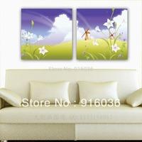 2 Panels Wall Hanging Huge Beautiful landscape Modern Paint Combination Decorative Picture Print Oil Painting Art Canvas pt685