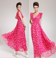 2014 spring summer new korean fashion chiffon long Bohenmian fruit print dresses for women