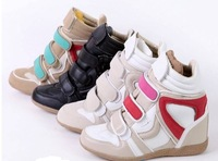 Drop Shipping /Isabel Marant Genuine Leather Size(36~40) women Boots Height Increasing Sneakers Shoes Free Shipping