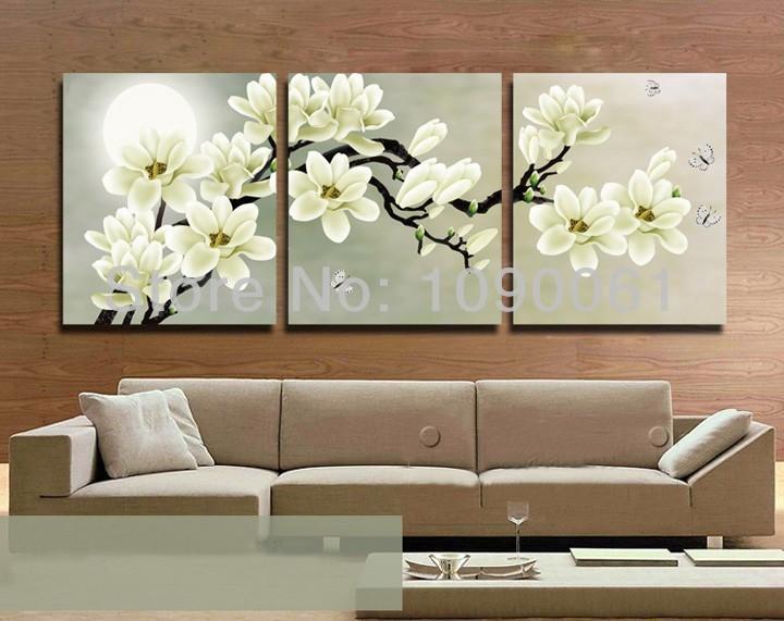 Flower Painting Canvas 3 Piece Wall Decor Cheap Abstract Art Modern