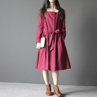 Vintage q044 slit neckline fluid long-sleeve dress female