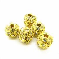 12*11mm 20pcs Fashion Gold Plated Round Copper Rhinestone Jewelry Loose Beads for DIY Necklace&Bracelet Free Shipping HC529