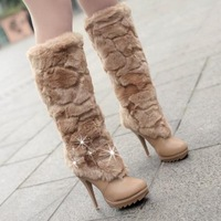 2014 Artificial Fox Rabbit Fur Leather New Fashion Rhinestone Elegant Woman Tassel Women Snow Boots And Women's Winter shoes