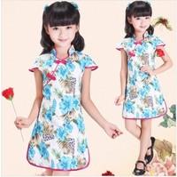 Summer child 2014 cheongsam female child cheongsam performance wear princess dress baby cotton cheongsam one-piece dress
