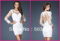 BCD48 New Arrival !! Sexy Fashion Women Ladies Sheath Lace Dress Floral Long Sleeve Cocktail Mini Dress White