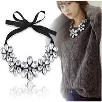 2014 New Design Elegant Statement Big Gem  Camellia Fllower Ribbon Collar Bib Necklace Choker Necklace For Women N1441