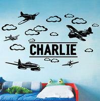 Custom name pvc plane aeroplane wall sticker for boys room removable home decor