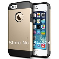 Hot Champagne   for Iphone 5 5TPU+PC Gold SGP SPIGEN Tough Slim Armor Cover Case Free Shipping