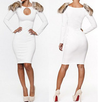 Womens elegant Clubwear Outfit Crewneck Long Sleeve Slim Bandage Bodycon Dress New 2014 Spring Autumn Hot Selling