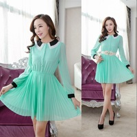 Sweet slim ruffle collar pleated elegant chiffon expansion bottom one-piece dress with belt