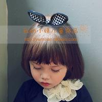 Child rabbit ears hairpin vintage navy style female child bow hair pin baby bangs clip edge clip hair accessory