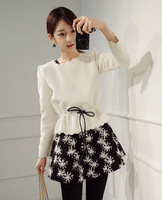 Minsshop autumn and winter slim small waist scalloped decorative pattern woolen one-piece dress twinset
