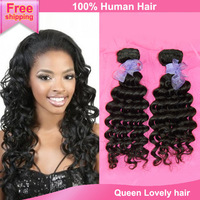 Hot sale item 2014 human hair weft 2pcs 3pcs 4pcs mixed Indian virgin hair extension free shipping new star deep wave hair weave