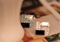 2014 New Design 50pcs/lot Fashion Square diamond earrings Women Jewelry stud earrings Korean jewelry wholesale