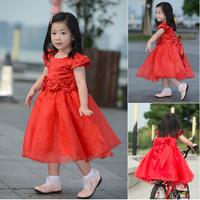 Flower girl dresses/ red girl party dress /princess dress /kids prom dresses/Children's clothing/
