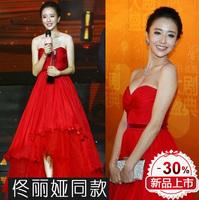 2014 special star with wipes bosom show thin dress/dress/toast host long red cheongsam