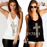 Free Shipping New Summer 2014 Fashion Rhinestones Cross Street Casual Tank Tops Plus Size Black/White Sexy Women Tops D019