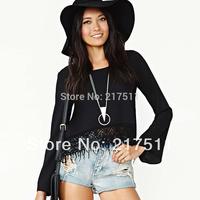 Free Shipping New 2014 Spring Fashion Chiffon Blouses For Women Flare Long Sleeve Plus Size Black Irregular Lace Hem Shirts D308