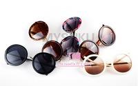 High Quality New Arrival UV400 Hip hop circle sun glasses women / Fashion mirror female sunglasses / Vintage 8 style wholesale