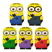 Whole fashional  cute cartoon model Despicable Me Yellow Minion silicon material case Stand cover for ipad mini soft case 3D