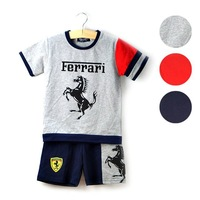 2014 New Arrival Free Shipping 5sets/lot popular fashion baby boys summer suits kids summer costumes t-shirt+pants 2pcs 3colors