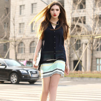 2014 New Chiffon v-neck false two stripe splicing sleeveless dresses size S  M  L