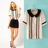 2014 female summer slim fashion sweet OL peter pan collar outfit all-match lace chiffon shirt short-sleeve top blouse
