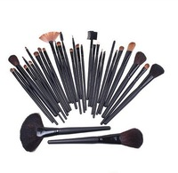 Beauty 32Pcs Cosmetic Facial Makeup Set Brush 32 Pcs Make Up Set Brush Tool + Black Leacher Case Free Ship & Drop Ship