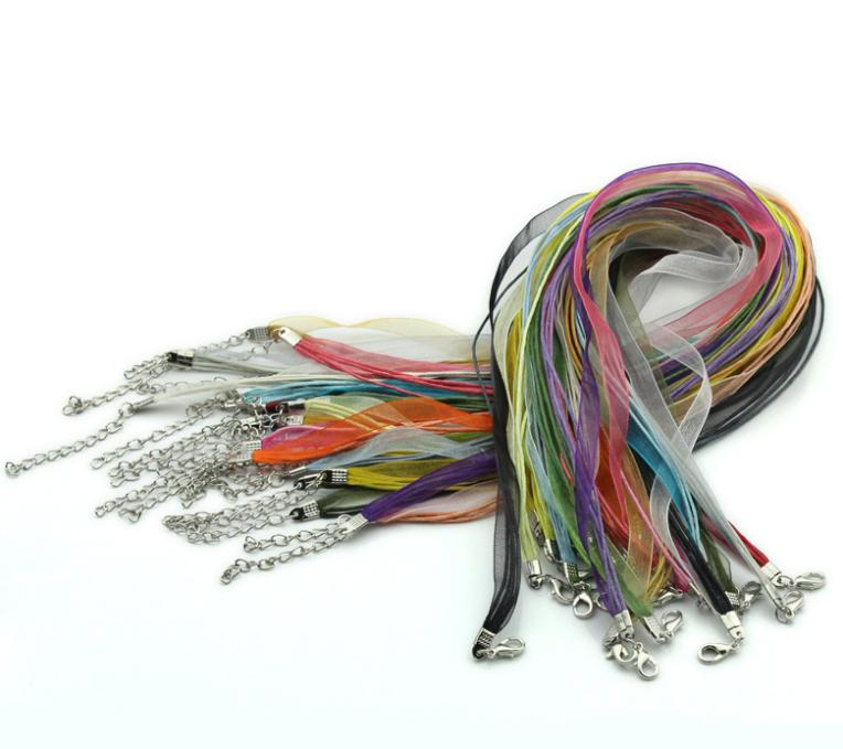 "22 Mixed Organza Ribbon Waxen Cord Lobster Clasp Necklaces 43.2cm 17"" B22650(China (Mainland))"