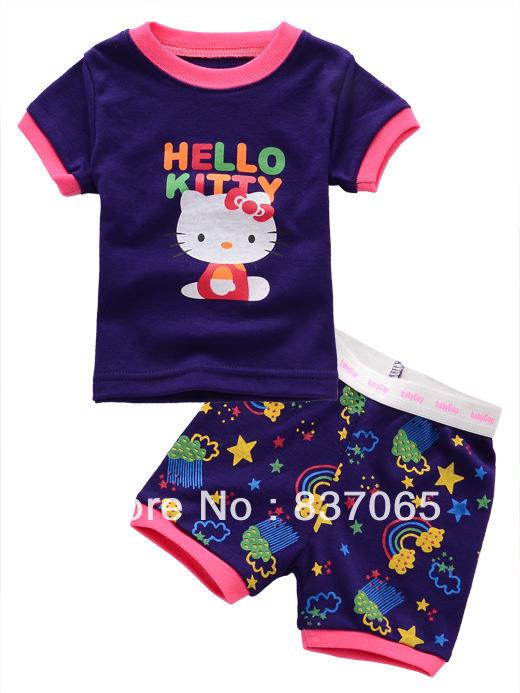 Name Brand Baby Girls Sets kids pajama sets G** short-sleeve baby clothing Hello Kitty Girls Clothing Sets for 3-24M(China (Mainland))