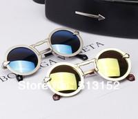 Unique Round Circle Sunglasses Women Men Vintage Glasses Metal Frame Arrow Style Colorful Reflective Lens Girls Fashion 0149