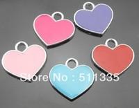 wholesale 100pcs/lot Enamel heart hang charm DIY pendant fit for diy pet collar