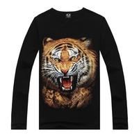 long-sleeve T-shirt male 100% cotton o-neck 3D printed rock tshirts,fashion cool punk black T-shirts free shipping