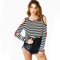 New! European Fashion Stripped Love Heart Patchwork Long Sleeve Girl's T Shirts O Neck Woman Casual Tops Tees Free CPAM 022422