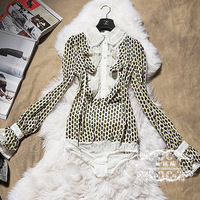 FREE SHIPPING 2014 spring and autumn ladies gentlewomen long-sleeve ruffle polka dot one piece shirt