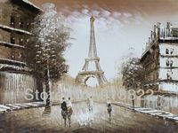 Oil paintings European Street Brown Eiffel Tower from Paris Modern art hand-painted on canvas