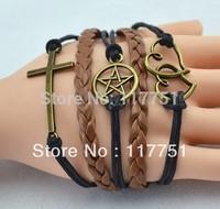 2014 cheap fashion jewelry brown elegant braided PU leather anchor cross ship wheel bracelet
